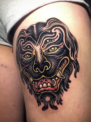신구(神狗), Ghostbuster Dog from Korean folktale ; Done yesterday @sticksandstonesberlin ; Special Thanks to the great @solemn.tattoo 🙏 for the amazing tip for proper pics! ; Inquiry & booking 👉 DM or 📧 paixletattooer@gmail.com #wannado #tattoo #art #tattoodesign #tattooideas #berlintattoo #tattooberlin #berlintattooers #tattoodo #tttism #tattooartistmagazine #tattooed #inked #theartoftattooing #thinkbeforeuink #taot #traditionaltattoo #neotraditinal #neotraditionaltattoo #tattooworkers #neotradstyle #neotradsub #neotradworldwide #ntgallery @tattoodo #dogtattoo #masktattoo #heavymetaltattoo #colortattoo #타투 #刺青