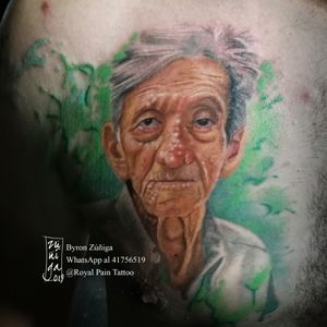 Portrait tattoo with watecolor background. Available in Guatemala.