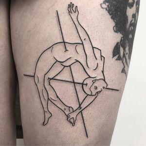 Surreal illustrative tattoo by Sophie Lee of AKA Berlin - Berlin, Germany #Berlin #Germany #akaberlin #sophielee #linework #illustrative #blackwork #body #lady #surreal #strange
