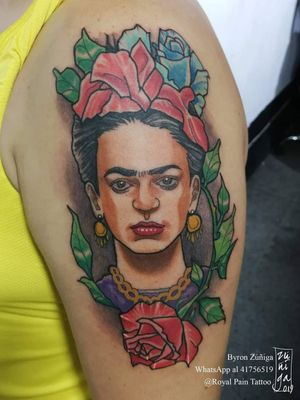 Frida Kahlo tattoo. #originalartwork #guatemala #byronzuñiga
