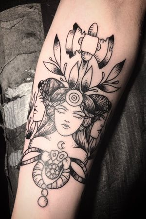 Forearm piece of the Greek goddess Hecate with Minoan bee & interpretive olive branches.