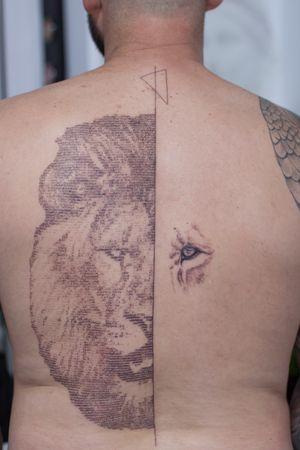 #liontattoo #tattoo #tattoodesign #tattooed #tattooart #tattooist #tattooartist #tattooart #ink #inked #inkedlife #stenciltattoo #sullen #stencil #newtattoo #bodyart #tattooculture #finelinetattoo #instatattoo #tattoolover #linework