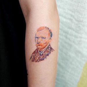 Van Gogh tattoo by Lit of Studio by Sol #Lit #StudiobySol #Seoul #Seoultattooartist #Koreantattooartist #Korea #vangogh #portrait #color #fineart #arm