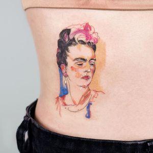 Frida Kahlo tattoo by Pauline of Studio by Sol #Pauline #StudiobySol #Seoul #Seoultattooartist #Koreantattooartist #Korea #FridaKahlo #portrait #fineart #illustrative