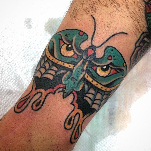 #butterfly #daveborjestattoo #boundforglorytattoo #traditionaltattoo #monster #scary