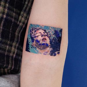 Blue is the Warmest Color - movie tattoo by SooSoo of Studio by Sol #SooSoo #StudiobySol #Seoul #Seoultattooartist #Koreantattooartist #Korea #blueisthewarmestcolor #Portrait #movietattoo #color #arm