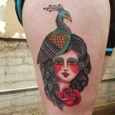 #tattoo #tattoos #colortattoo #rose #rosetattoo #bodyart #peacocktattoo #ladytattooer #tattoomaven #kcmo #kcmotattooartist #kctattoos #kansascitytattoo #westbottomskc #kccreatives #artist #kansascitytattoos #kansascity #skinart #peacock #tattooartistsofinstagram #tattooer #westbottoms #traditionaltattoo #flashtattoo #reneespringertattoos #colortattoos #kansascity #nobleflash #reneespringerart