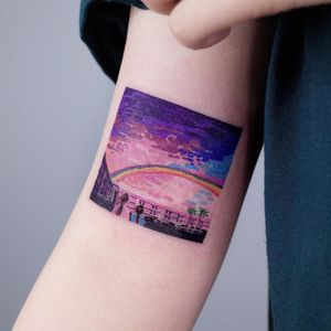The Florida Project - movie tattoo by SooSoo of Studio by Sol #SooSoo #StudiobySol #Seoul #Seoultattooartist #Koreantattooartist #Korea #movietattoo #rainbow #landscape #sky #arm #color