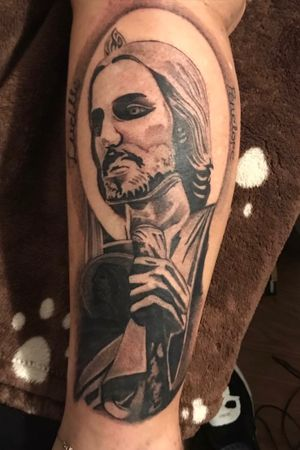San Judas Tadeo I did on my mom ! The person who got me into tattooing