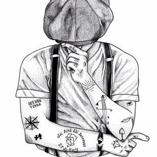 #gang #gangster #paris #gangdeparis #black #white #blackandwhite #vintage #blackandgrey #grey #tattoos
