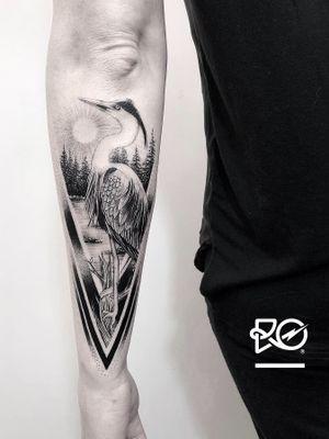 By RO. Robert Pavez • Blue Heron • Done in studio Chronicink • 2019 #engraving #dotwork #etching #dot #linework #geometric #ro #blackwork #blackworktattoo #blackandgrey #black #tattoo #fineline