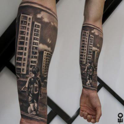 Today's work #city #football #boy #soccer #fotballtattoo #tattoo #ink #inked #tattooist #tattooartist#art #photo #blackandgray #contrast #face #dark #realism #rafalbaj#blackandgray #graywash #forearmtattoo #color #poland #katowice #dabrowagornicza #rockandrolltattoo