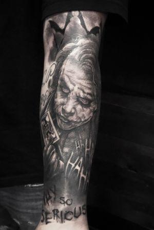 Joker #tattoo #blackandgrey #joker #crownpoint