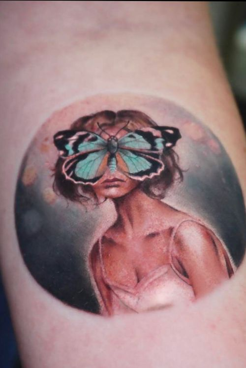 Tattoo by Nina Richards #NinaRichards #realism #surreal #portrait #girl #butterfly #blue #dream #painterly