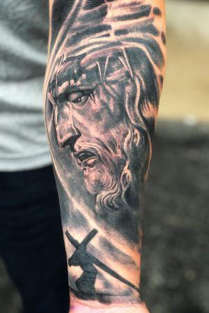 Jesus #tattoo #realism#blackandgrey#crown Point