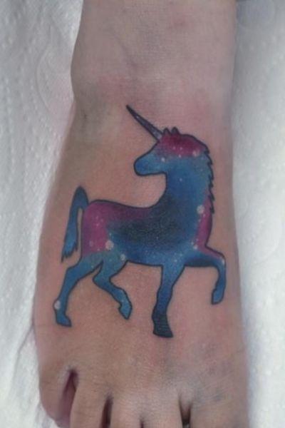 Galaxy unicorn tattoo #galaxy #foottattoo #unicorntattoo #unicorn #colourtattoo #cosmic
