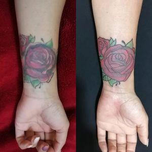 Rose tattoo fix. I was really nice to fix this tattoo, my client was really happy with the result.
