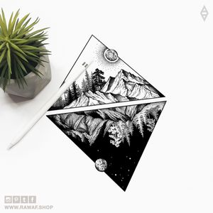 Day and night: split dotwork nature inspired tattoo design, also can be used as matching tattoos. Download: www.rawaf.shop/tattoo, follow on Instagram for new designs (the_rawflow). 💣 #tattoo #blackwork #dotwork #stippling #nature #forest #mountains #sun #moon #hiking #wanderlust #black #blackonly