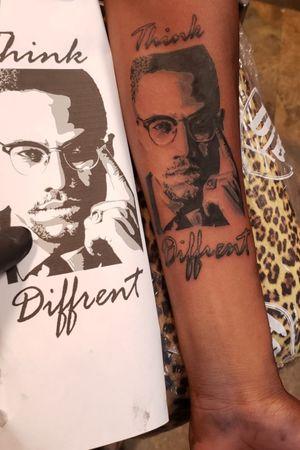 Malcom X #etheartist #yeswork #tattoos #slanginink #spektraxion #empireink #hivecaps #fkiornsxion #blackandgreytattoo