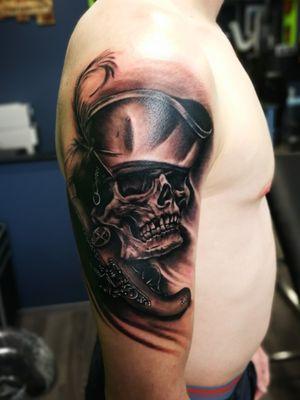 Pirate skull #piratetattoo #blackandgrey #blackandgreytattoo #armtattoo #fullarmsleve #tattooartist #tattoodo #tattoodoapp #awesometattoo #besttattoo
