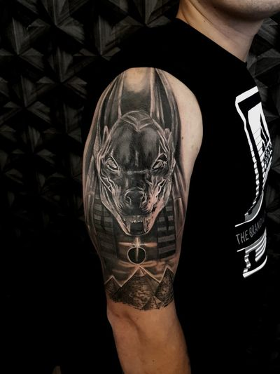 Healed anubis with some touch up 🙌 #anubis #anubistattoo #healed #egypt #pyramids #god #coverup