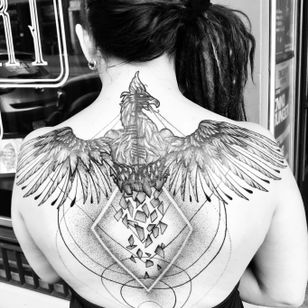 sixth - cover up - done by keff #phoenix #wings #back #coverup