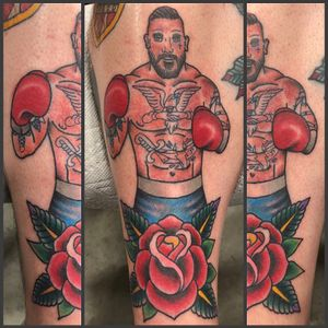 #tattooed #boxer for my buddy Dan #traditional #neotradtional #color #rose
