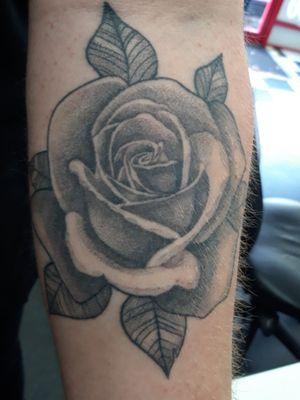 Healed rose tattoo