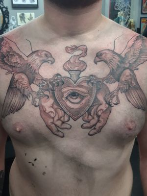 Work in progress of a sacred heart chest piece.