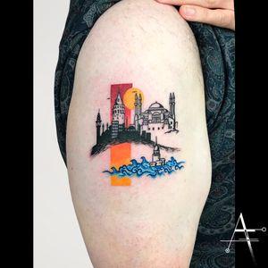 Istanbul... . For custom designs and booking; alperfiratli@gmail.com  #geometrictattoo #geometric #colortattoo #minimal #tattoo #tattooartist #tattooidea #art #ink #inked #customtattoo #tattooist #linework #surreal #surrealism #abstracttattoo #abstractart #surrealart #istanbultattoo #istanbul #landscape #city #galatatower #hagiasophia #maidentower #miniature