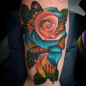 Butterfly rose morph #butterfly #butterflytattoo #rosetattoo #roses #rose #rosemorph #colourtattoo #colour #eternalink #fusion #tattoo #tattoos #tattooist #tattooartist #point2point #tattoostudio #erith #kent #southlondon #realism