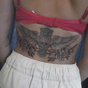 #owltattoo #Tattooowl #owl #peony #flowers