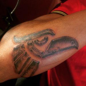 Mexican eagle tattoo #eagle #stone #mexico #rock #echoenmexico #mexican #mexico #aztec #azteca aztec eagle rock black and grey shadows cool eagle head mexico mexican insta: king_mannytattoo