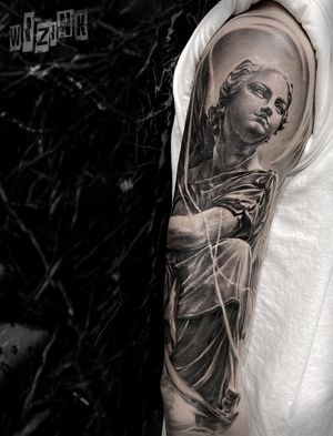 Guardian angel, black and grey