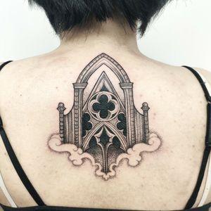 Cathedral inspired tattoo. #blackwork #cathedraltattoo #dotworktattoos