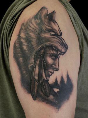 A cool, custom native piece by Josh. #native #americanindian #indian #wolf #wolftattoo #headdress #feather #feathertattoo #nature #tattoodesign #tattooideas
