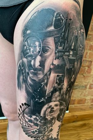 Tattoo done by Miti Tattoo&Piercing #oxfordtattoomakers #oxfordtattoo #oxfordtattoos #oxford #frankensteintattoo #blackandgreytattoo #realistictattoo #legsleeve