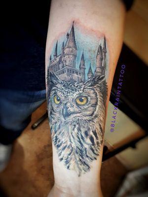 #owl #odessa #ukraine #tattooartis #realistictattoos #colortattoo #harrypottertattoo