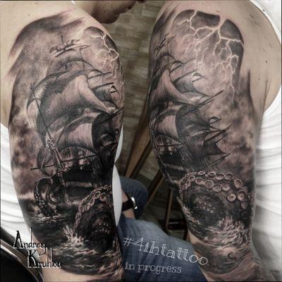 #tattooed #tattoos #ink #dynamicink @4ih_tattoo #AndreyKruhlou #blackandgray #graywash #Minsk #guestspots #tattooartist #tattooart #tattoostyle #artist #art #tattoophotography #animaltattoo #guestspottattoo #guestspot #tattooguestspot #tattooistartmag #tattoorealistic #octopus #octopustattoo #octopustattoos #sea #seatattoo #pirate #PirateTattoos #piratetattoo #shiptattoo #ship #tattooship