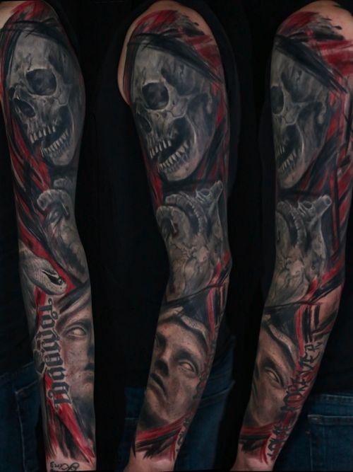 Finished sleeve. #skull #skulltattoo #snake #snaketattoo #statue #statuetattoo #heart #hearttattoo #realism #realistictattoo #blackandgrey #blackandgreytattoo #horror #horrortattoo #dark #darktattoo #guyswithtattoos #knoxville #knoxvilletattoo