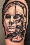 #blackandgrey #realism #portrait #skull #sculpture #indianapolis #joecrone #cronetattoos #armtattoo