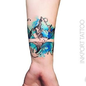 Wave at the mountains by @inkporttattoo #Москва #mountaintTtoo #wavetattoo #fairytale #moscowtattoo #space #акварельтату #moscow #watercolor #usa #tattoomoscow #татуировка #watercolortattoo #inkporttattoo #watercolortattoos #abstract