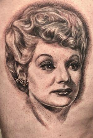 Lucille Ball #portrait #realism #blackandgrey #legtattoo #indianapolis #cronetattoos #joecrone