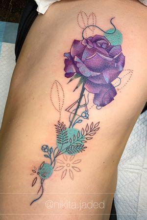 #rose and #geometric #ribtattoo #colourtattoo