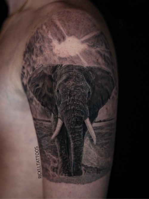 Client traveled from Alabama to get this elephant. #elephant #elephanttattoo #realism #realistictattoo #blackandgrey #blackandgreytattoo #guyswithtattoos #knoxville #knoxvilletattoo