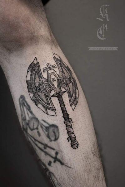 Karag Battleaxe! #KaragBattleaxe #axe #aqw #battleaxe #adventurequestworlds #artix #dwarf #black #blackworktattoo #blackwork