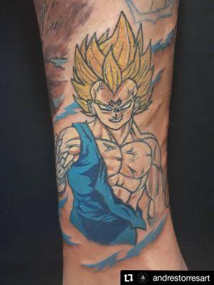 Vegeta. Parte de un proyecto de Dragon Ball Z en una pierna. #dbz #dragonballz #dragonballtattoo #vegetatattoo #animetattoos #fullcolortattoo #eclectic #andrestorresart