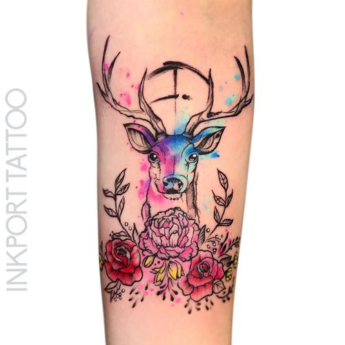Watercolor Deer by @inkporttattoo                                                                        #Москва #deer #watercolordeer #deertattoo #watercolor #moscowtattoo  #space #акварельтату #moscow #watercolor #usa  #tattoomoscow  #татуировка #watercolortattoo #inkporttattoo #watercolortattoos #abstract