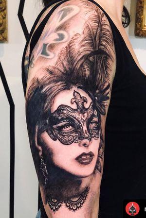 """In a world where everyone wears a mask, It's a privilege to see a soul"" • • •Artist: Nestor_ace • • #venetianmask #mask #mascarades #vancouvertattoo#inked#tattooed#vancitytattoo#portrait#blackandgrey#vancouvertattooartist#vancouvertattooist#vancouver#commercialdr#mainstreettattoo#richmondbc #burnabybc #newwestminsterbc #langleybc #eastvancouver#vancouverrealistic#vancouverblackandgrey#realism #realismtattoos #intenzeink #tattooedgirls #"