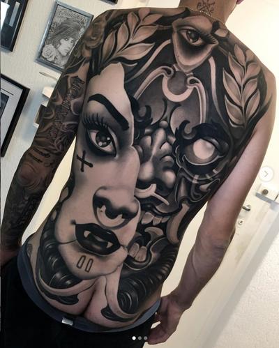 Back piece done in 4 sessions, 22h total. Done on @mario_serratore ——————————————————— @cheyenne_tattooequipment @staycoldapparel @stencilstuff @aftercareh2ocean @tattoodo #tattoodo #london #londontattoo #inksav #tattoolifemagazine #tattooartwork #neotraditionaltattoo #neotrad #neotradicional #bng #backpiece